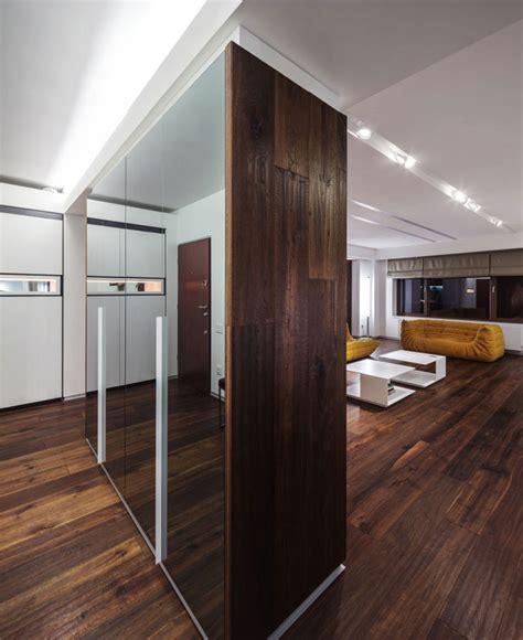 Grey Yellow Living Room by Dark Deep Colored Contemporary Apartment Interiorzine