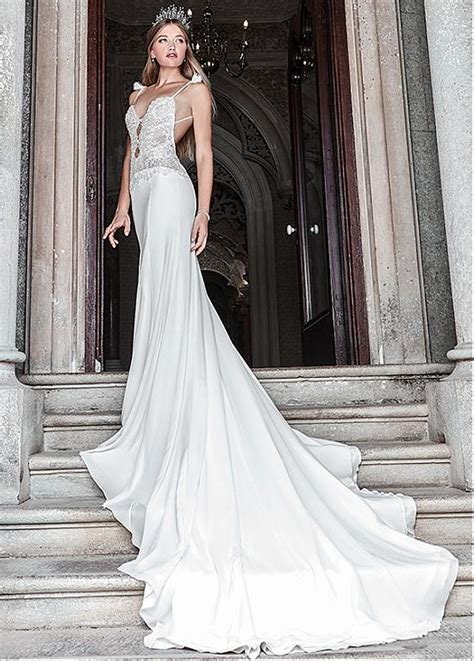 Glamorous Lace & Chiffon Spaghetti Straps Sheath Wedding ...