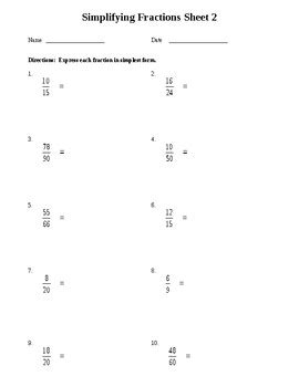 simplifying fractions worksheet by fun finds for teachers tpt