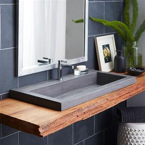 id 233 e d 233 coration salle de bain evier salle de bain comptoir en bois brut et evier granit noir
