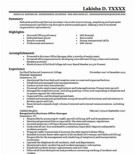 Clerical Resume by Clerical Assistant Resume Sle Administration Resumes