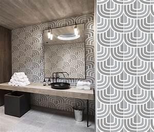 Papier Peint Pour Salle De Bain : papiers peints g om triques pour une salle de bain blog ~ Dailycaller-alerts.com Idées de Décoration