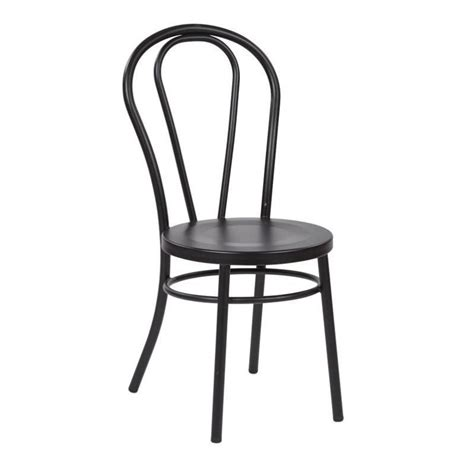 metal patio dining chair in solid black set of 2