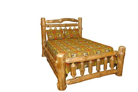 rustic pine log king size double rail complete bed frame amish   usa ebay