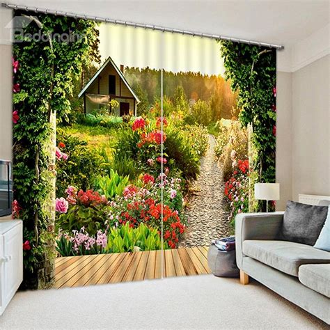 beautiful scenery  garden printing polyester custom