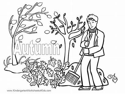 Coloring Fall Pages Printable Autumn Children Leaves