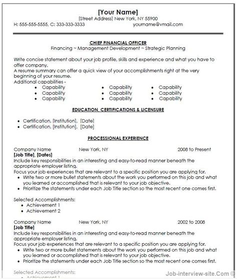 Cfo Cv Template Doc by Free 40 Top Professional Resume Templates