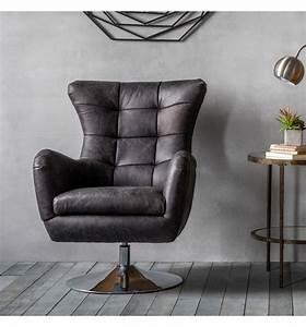 Casablanca, Leather, Swivel, Chair, -, Antique, Grey