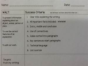 Writing Rocks  Success Criteria