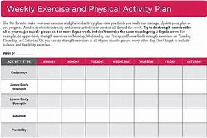 weekly exercise and physical activity plan go4life With activity programme template