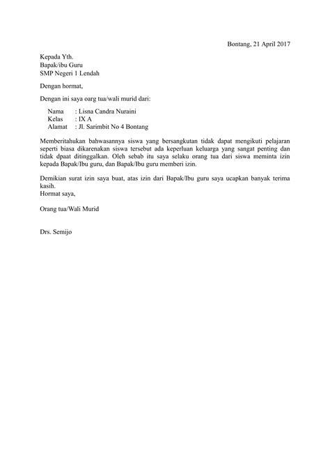 contoh surat izin sekolah  sakit