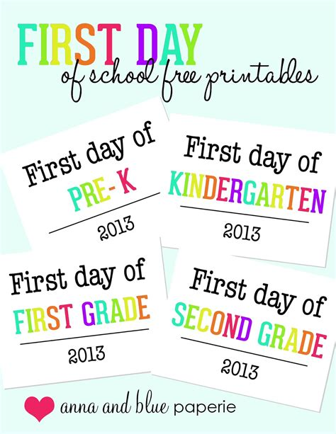 and blue paperie day of school photo op free 745 | first day school free printable