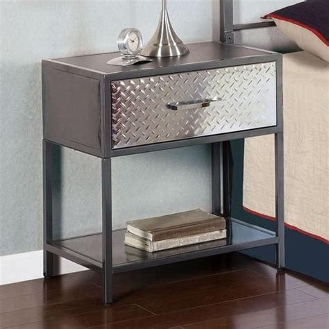 monster metal nightstand  diamond plated drawer front