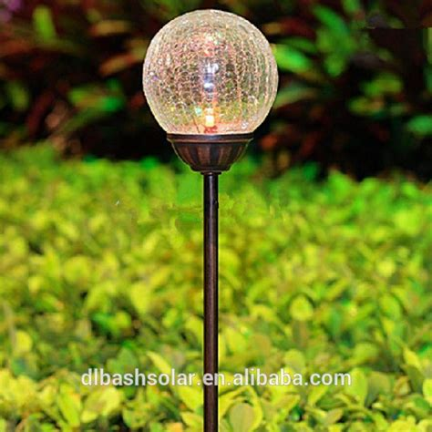 unique solar garden light colorful crackle glass globe