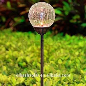 Unique solar garden light colorful crackle glass globe