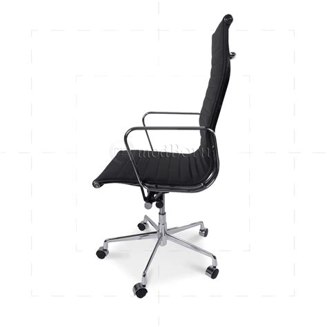 ea119 eames style office chair high back ribbed black leather