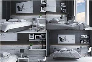 Chambre Gris Blanc : d co chambre coucher adulte en tons fonc s actuelle et ternelle ~ Melissatoandfro.com Idées de Décoration