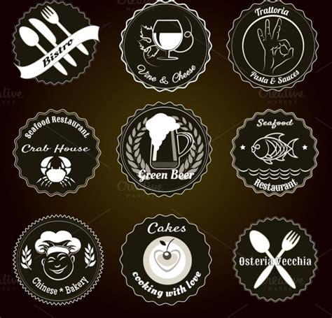 d馗o cuisine vintage retro restaurant menu badges icons on creative market