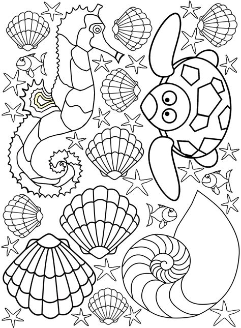 seaside creatures colouring page rooftop post printables