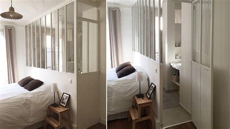 salle de dans chambre avant après une verrière intérieure pour séparer sans