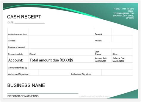 printable cash payment receipts  ms word word