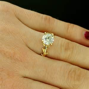 tree engagement ring yellow gold nature inspired cubic zirconia tree branch engagement ring orospot