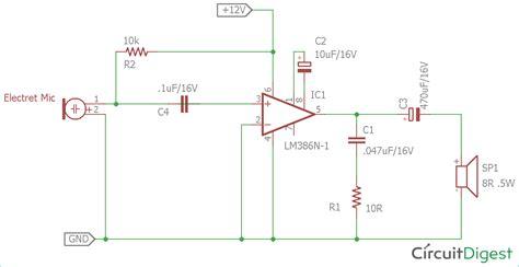 Simple Microphone Speaker Amplifier Circuit Diagram