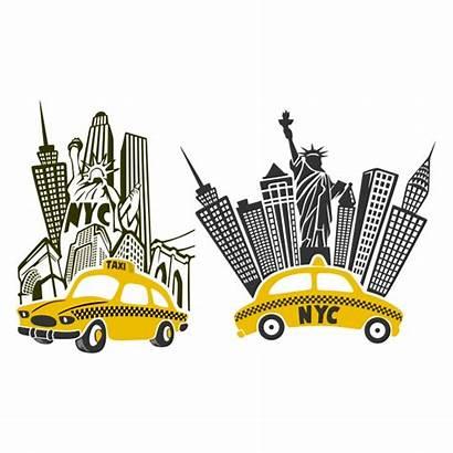 York Street Cuttable Svg Cricut Taxi Skyline