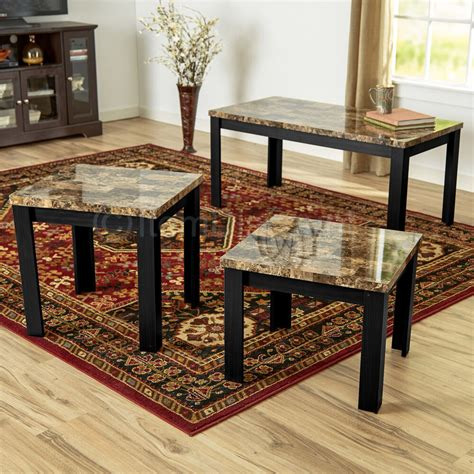 Sofa Table And End Table Set by 3 Faux Marble Coffee Table Set Living Room Sofa