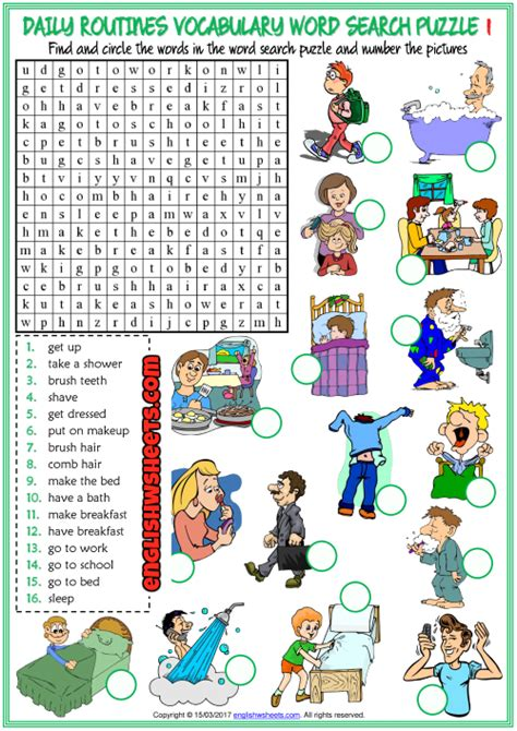 daily routines esl word search puzzle worksheets  kids