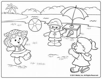 Coloring Pages Beach Summer Printable Fisher Scene