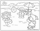 Coloring Pages Beach Summer Printable Fisher Scene Fun Sheets Colouring Royalty Playing Adult Preschool Animal Kid Sunny Scenes Waves Sea sketch template