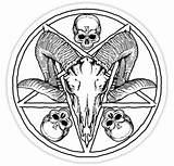 Pentagram Drawing Goat Skull Ram Stickers Redbubble Devil Zugart Getdrawings Drawings Evil Magic Dark Arts Occult Sticker sketch template