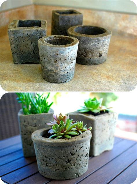 pots made from cement a way to use up the