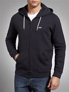 Armani jeans Logo Zip Hoodie in Black for Men | Lyst