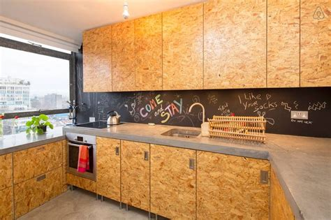 Kitchen Cabinet Doors Made From Oiled Chipboard And A