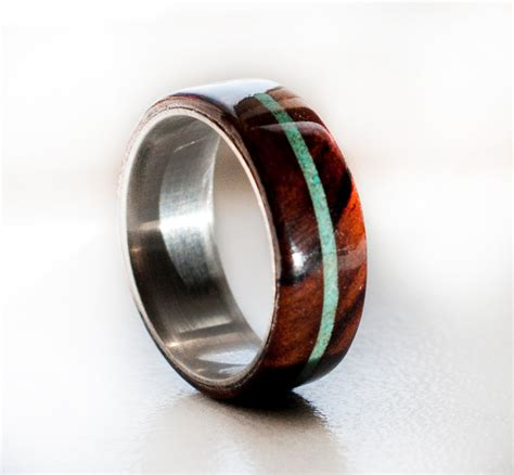 mens wedding rings wood inlay mens wedding band wood and turquoise ring by stagheaddesigns
