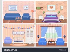 Rooms Interiors Vector Furniture Living Room Stock Vector