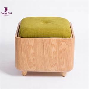 Aliexpresscom buy soid oak wood organizer storage stool for Ottoman stool storage