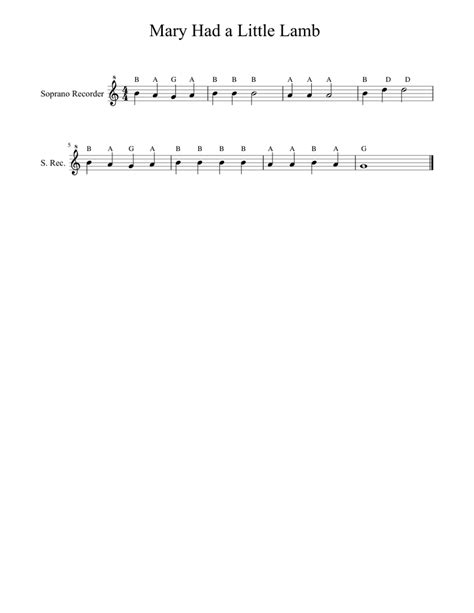 Practice playing each of these notes individually before you start working on the song. Mary had a little Lamb Sheet music for Recorder   Download free in PDF or MIDI   Musescore.com