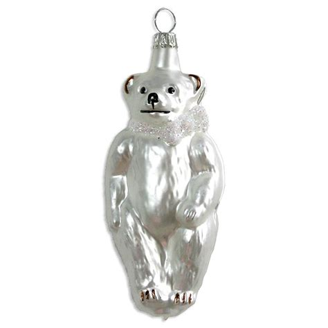 matte white bear blown glass ornament germany 4 quot tall