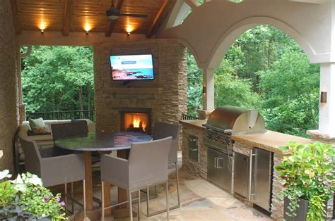 fireplace grill station patio and covered