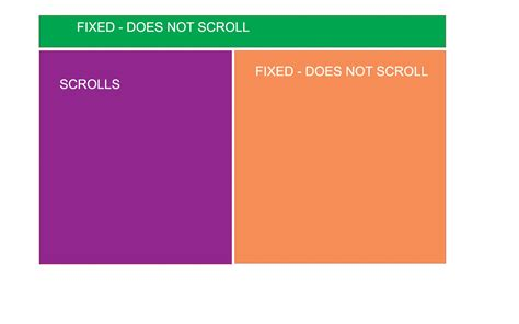 css clear div html half fixed half scrollable layout that can be