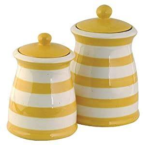 amazoncom yellow white striped ceramic canister set