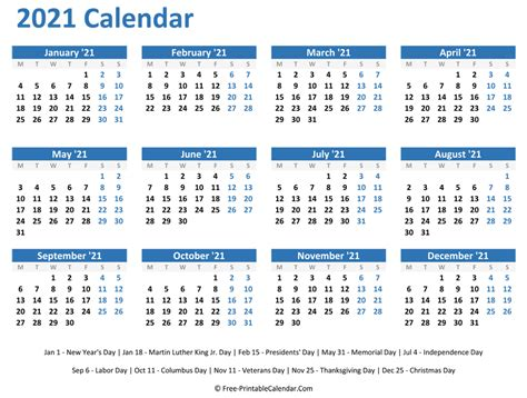 yearly calendar  holidays horizontal layout