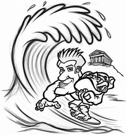 Surfer Cartoon Drawing Clipart Sketch Mascot Character