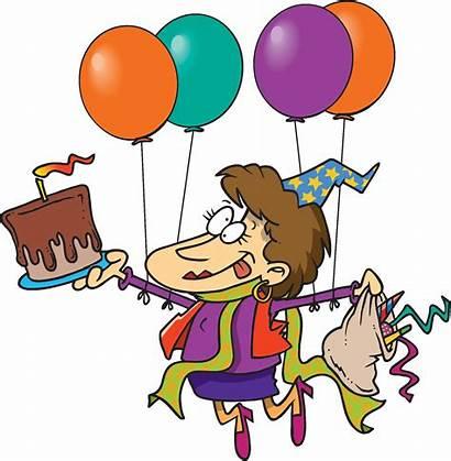 Birthday Clipart Cartoon Celebration Party Lady Happy