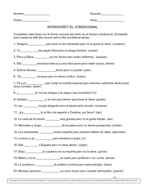 All Worksheets » Conditional Tense Spanish Practice Worksheets  Printable Worksheets Guide For