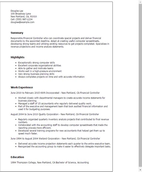 cv financial controller sample financial controller resume