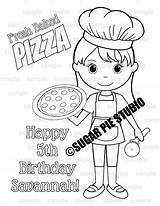 Coloring Chef Pie Baker Sugar Pages Party Activity Pizza Studio Birthday Printable Pdf Contact Favor  sketch template